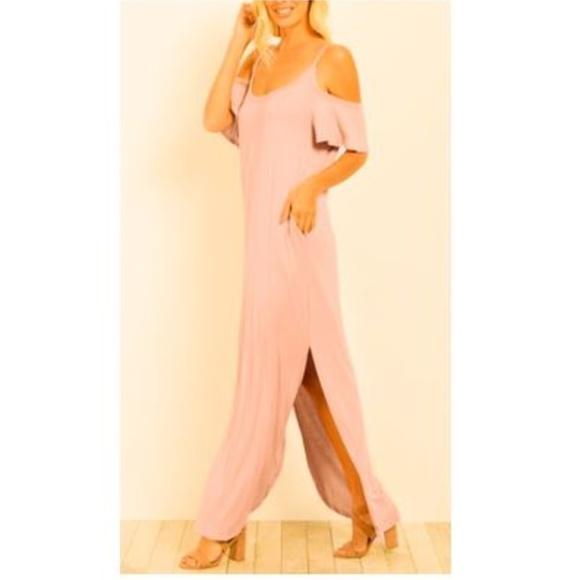 For G and PL Dresses & Skirts - NWT Summer Cold Shoulder & Pocket Maxi Dress, Pink